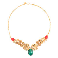 LeiVanKash Rose Bib Necklace - Gold Floral Necklace - ShopBAZAAR