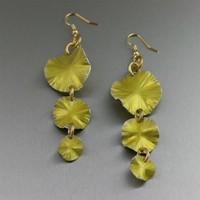 Three Tiered Yellow Anodized Aluminum Lily Pad Earrings