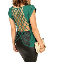 Green Lattice Cage Back Top