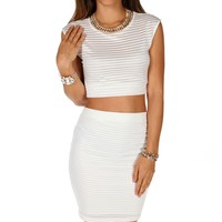 Pre-Order: Wht Sleeveless Illusion Stripe Crop Top