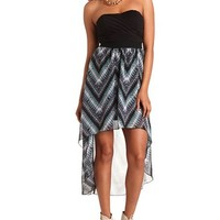 TRIBAL PRINT STRAPLESS HI-LO DRESS