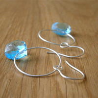 silver blue earrings, teardrop, aqua blue gemstone, heart earrings, summer fashion, sterling silver hoops, metalwork jewelry