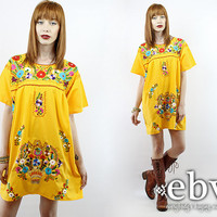 Yellow Mexican Dress Embroidered Dress Hippie Dress Hippy Dress Boho Dress Festival Dress Vintage 70s Mini Summer Dress L XL