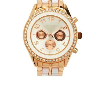 Pave Rhinestone Two-Tone Boyfriend Watch