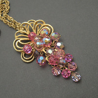Vintage Crystal Necklace Waterfall Pink Jewelry N2218