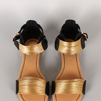 Bumper Hope-03 Strappy Ankle Cuff Open Toe Flat Sandal