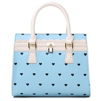 Love Heart Double Handle Tote Cross Body Shoulder Bag Handbag