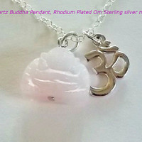 Yoga Necklace  buddha om sterling silver necklace  Zen jewelry