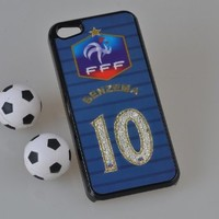 MagicPieces Plastic Snap on Case with Shaking Rhinestones for iPhone FIFA World Cup 2014 FFF BENZEMA 10 for iPhone4/4s Color Black