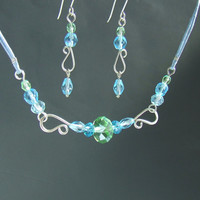 Blue silver earrings necklace, sterling silver handmade jewelry set, green and sea blue crystal