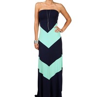 NavyMint Strapless Chevron Maxi Dress