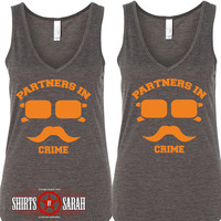 Women's Best Friends Shirt V-Neck Tanks - Tank Tops Hipster Incognito Partners In Crime Tops Shirts