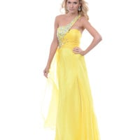 2013 Prom Dresses - Yellow Chiffon & Rhinestone One Shoulder Prom Dress