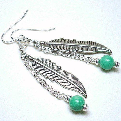 Nevada Green Turquoise Pewter Feather 925 Sterling Silver Earrings | KatsAllThat - Jewelry on ArtFire