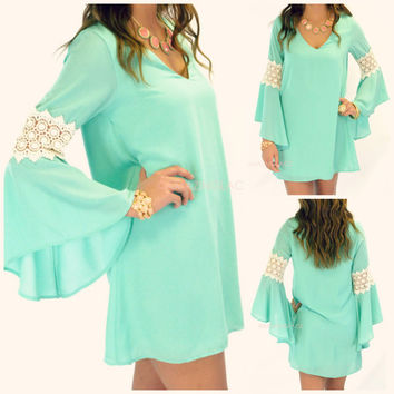 Free Fall Mint Crochet Bell Sleeve Dress