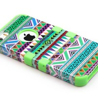 Pandamimi ULAK(TM) Hybrid High Impact Tribal Soft TPU + Hard PC Case Cover for Apple iPhone 5S 5 5G with Screen Protector and Stylus (Green + Green)