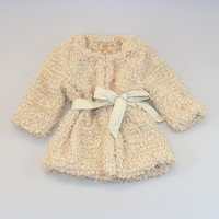 Crème Fuzzy Belted Jacket - Toddler & Girls | something special every day