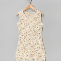 Cream Lace Scallop-Hem Dress - Girls | something special every day