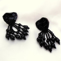 Black Dangle Earrings of Leather Sequin and Beads