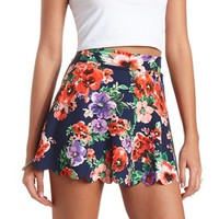 FLORAL PRINT SCALLOPED SKATER SKIRT