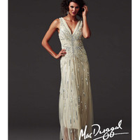 Mac Duggal 2014 Couture - Ecru Illusion & Beaded Gatsby Inspired Dress