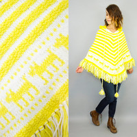 vintage 1970's striped SCOTTY DOG yellow + white boho hippie indie HOODED sweater poncho, extra small-small
