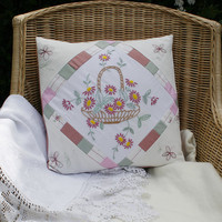 Embroidered Cushion/Pillow Cover - re-cycled linen, pink flowers, patchwork by Lynwoodcrafts