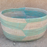 Oval Magazine storage basket, iceberg blue and white chevron,large open wool chest herringbone