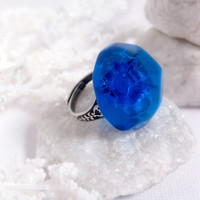 Gothic Royal Ring  Blue  Large Ring  by FashionCrashJewelry
