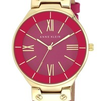 Anne Klein Round Leather Strap Watch, 38mm | Nordstrom