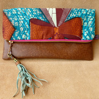 African Wax fabric clutch by Hot Bags - Get of my Cloud