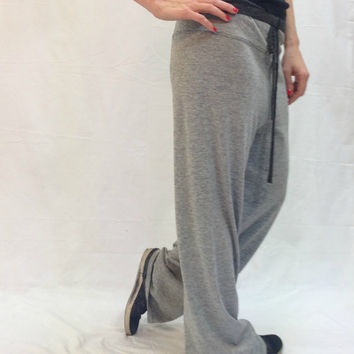 Womens Loose Casual Grey Drop Crotch Sweatpants / Unisex harem pants / Yoga Pants