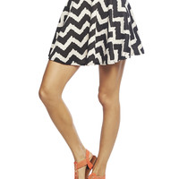 Chevron Ponte Skater Skirt | Wet Seal
