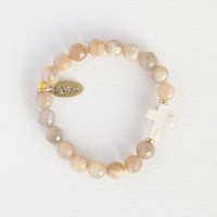 Liv•N•Grace Sunstone Beads with White Cross Bracelet
