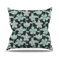 Kess InHouse Julia Grifol My Grey Spotted Flowers Throw Pillow, 18 by 18-Inch