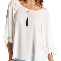 SHEER CROCHET CUFF COLD SHOULDER TUNIC TOP