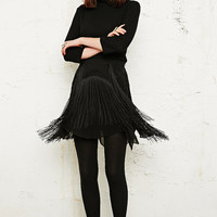 Free People Form of Daze Fringe Skirt in Black - Urban Outfitters