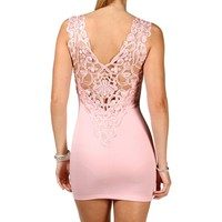 Light Pink Crochet Mini Dress