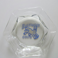 Vintage Baltimore Colts Glass Ashtray 1950s