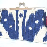 IKAT Print Kisslock Clutch Purse 8 inch by kyooziAccessories