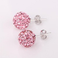 Towallmark 1 Pair Beauty Sparkle Round Crystal Ball Stud Earrings For Girls