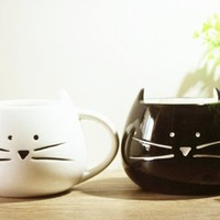 Moyishi Lovely Cute Little White & Black Cat Coffee Milk Ceramic Mug Cup Christmas Birthday Best Gift,Set of 2