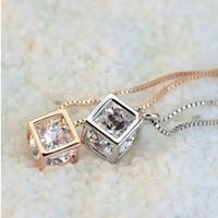 Lucky Cube Short Necklace Jewelry