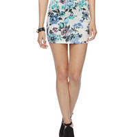 Painted Floral Bodycon Skirt | FOREVER21 - 2000042210
