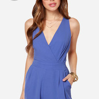 LULUS Exclusive Say the Word Periwinkle Romper
