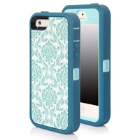 SGM Apple iPhone 5S / iPhone 5 (16GB, 32GB, 64GB, Unlocked T-Mobile, AT&T, Verizon, Sprint 4G LTE)) Multiple layer protection High Impact Hybrid Armor Case (Turquoise + Light Blue (Vintage), iPhone 5S / 5)