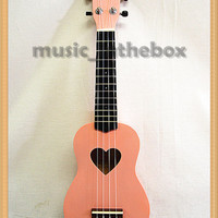 "Sweet Pink with Heart Hole - 21"" Soprano Wooden Ukulele & Carrying Bag"