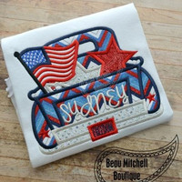 Patriotic 4th of July Memorial Day Vintage Truck Custom Tee Shirt - Customizable -  Infant to Youth