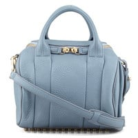Rockie Small Crossbody Satchel Bag, Mercury Light Blue/Yellow Golden