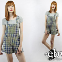 Vintage 90s Grunge Plaid Overalls XS S 90s Overalls Grunge Overalls Plaid Jumper Plaid Shorts High Waisted Shorts High Waist Shorts